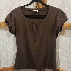 Large Brown Worthington Short Sleeve Blouse